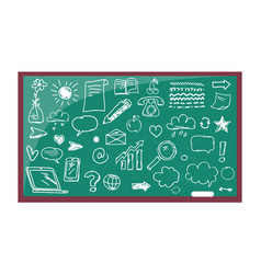 blackboard with drawn images vector image