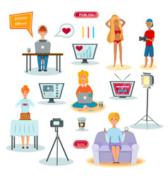bloggers characters flat icons set vector image