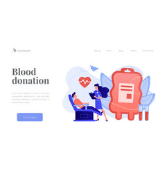 Blood donation concept landing page vector