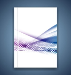 Blue swoosh wave satin line brochure template vector