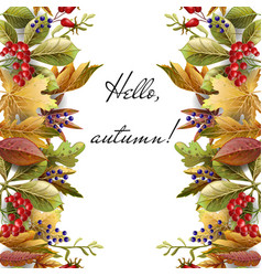 border with autumn yellow leaves vector image