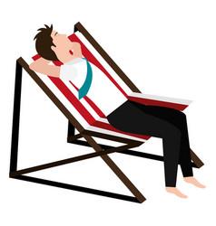 Businessman relaxed in beach chair vector