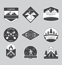 Camping Label and Badge Monochrome Style vector