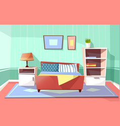 Cartoon bedroom interior background vector