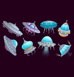 cartoon ufo spaceship alien spacecraft futuristic vector image