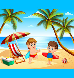 children summer vacation playing in the beach vector image