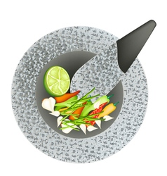 Chili Garlic and Lime in Black Granite Mortar vector