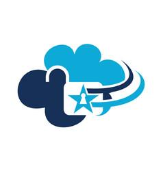 cloud secure logo design template vector image