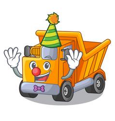 Clown character truck dump on trash construction vector