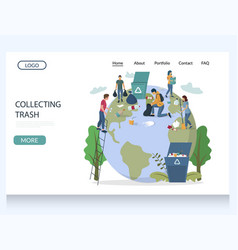 collecting trash website landing page vector image
