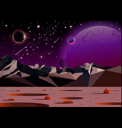 cosmic landscape of another planet in open space vector image