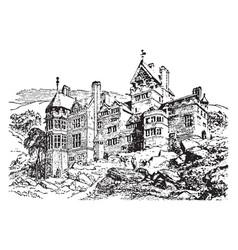 Cragside build a modest house vintage engraving vector