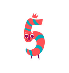 Cute animallike character number five 5 vector