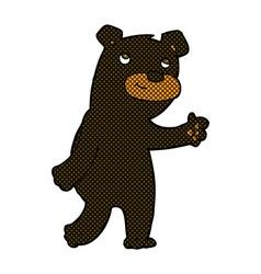 Cute comic cartoon black bear vector