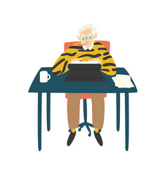 cute elderly writer critic or novelist siting at vector image