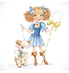 Cute shepherdess with lamb vector