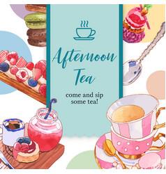 Dessert frame design with cupcake macarons tea vector