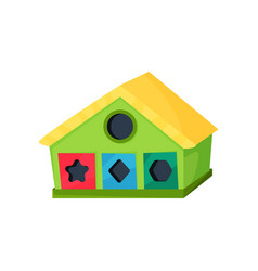 development toy in shape of house with holes for vector image