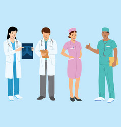 doctor and medical people cartoon flat set vector image