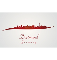 Dortmund skyline in red vector image