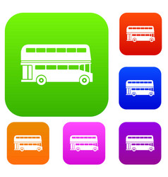 Double decker bus set collection vector