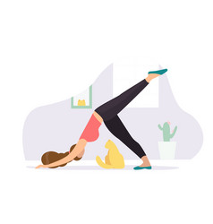 downward-facing dog woman doing yoga with cat vector image