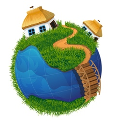 Earth globe with houses vector image
