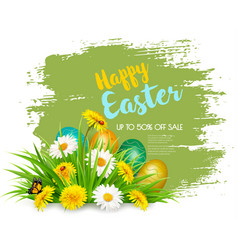 easter sale background with colofrul eggs in vector image