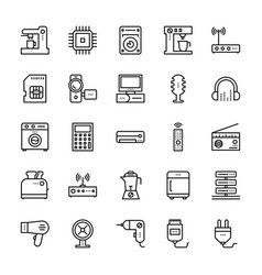Electronics and devices outline icons 5 vector