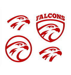 falcon or hawk head sport logo mascot design set vector image