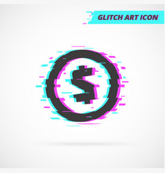 Flat glitch usa dollar coin isolated icon vector