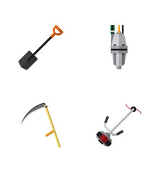 Flat icon dacha set of spade pump cutter and vector