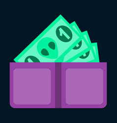 Flat icon on stylish background money in a purse vector