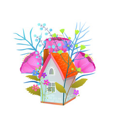 floral tiny cottage house flat vector image