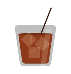glass cocktail drink ice straw vector image