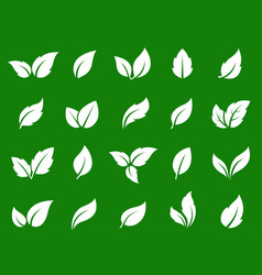 green eco set of white leaves icons vector image
