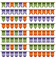 Green purple orange bunting vector