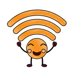Happy wifi kawaii icon image vector