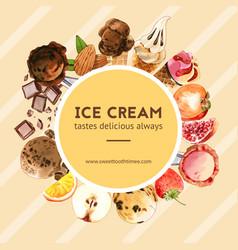 Ice cream wreath design with chocolate fruits vector