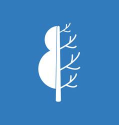 Icon tree in winter summer vector