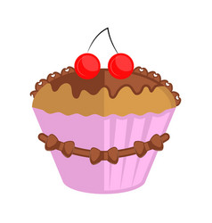 isolated colored cupcake icon vector image