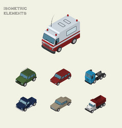 isometric car set of suv truck freight and other vector image