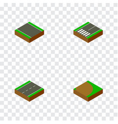 isometric road set of unilateral footer single vector image