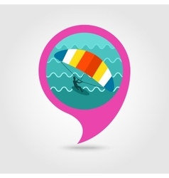 Kite boarding surfing pin map icon vacation vector