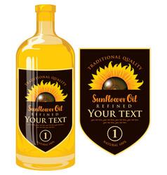 Label for sunflower oil on glass bottle vector