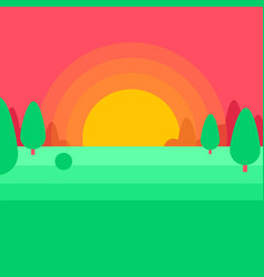 Leaves of green trees sunset landscape vector