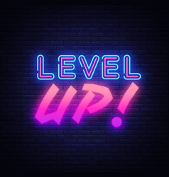 Level up neon sign gaming design template vector