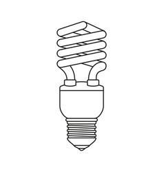 Line art black and white fluorescent bulb vector