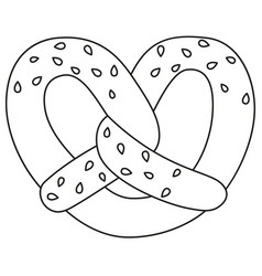 line art black and white pretzel with sesame seed vector image