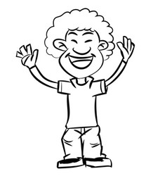 line drawing cartoon afro boy smiling vector image